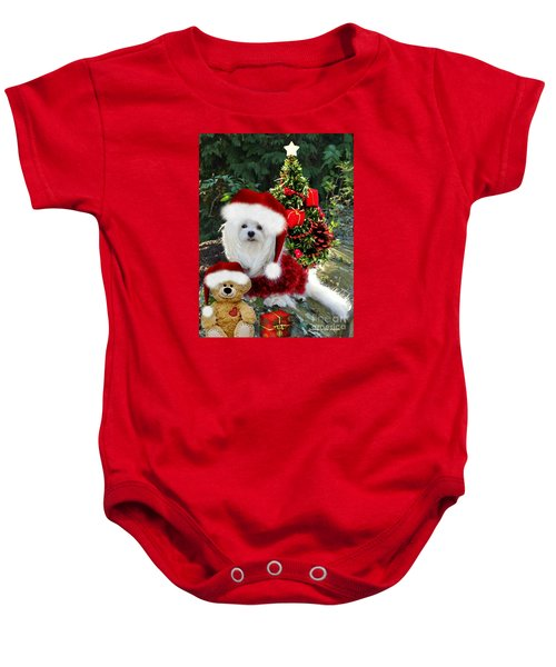 Baby Onesie featuring the mixed media Ready For Christmas by Morag Bates