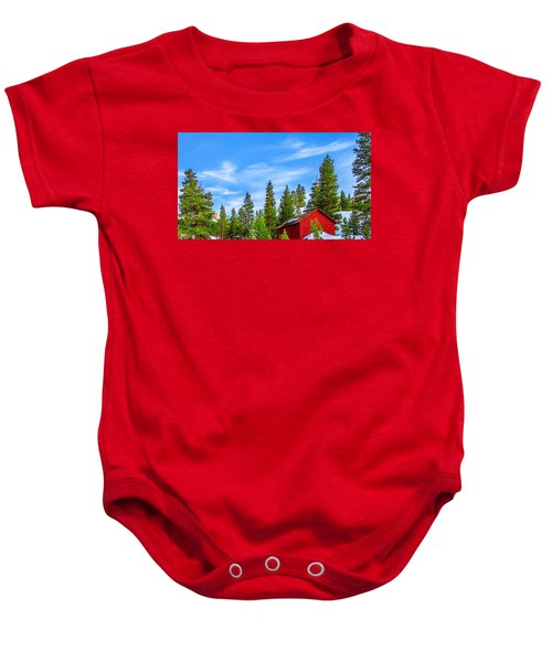 Red Barn On A Hill Baby Onesie