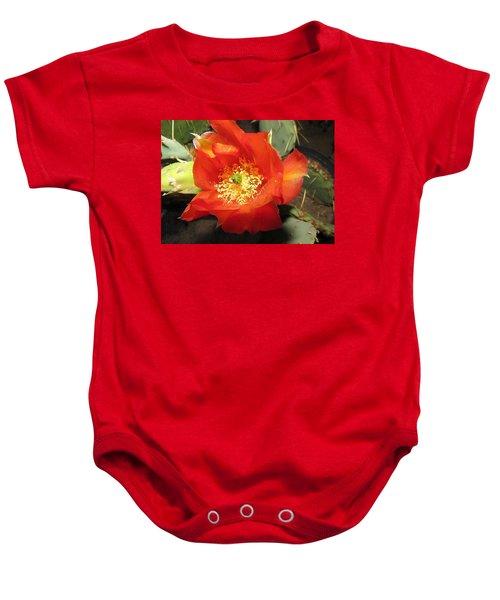 Red Bloom 1 - Prickly Pear Cactus Baby Onesie