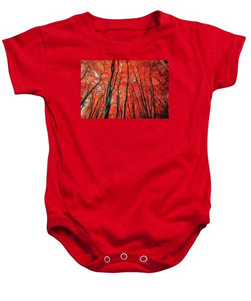 Red Forest Of Sunlight Baby Onesie