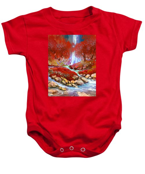 Baby Onesie featuring the painting Red Forest by Tithi Luadthong