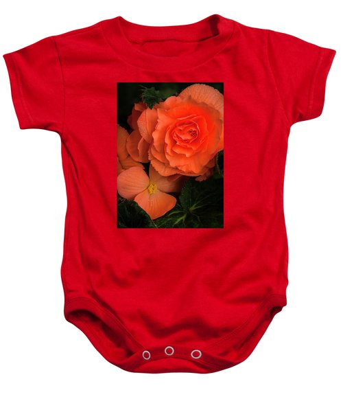 Red Giant Begonia Ruffle Form Baby Onesie