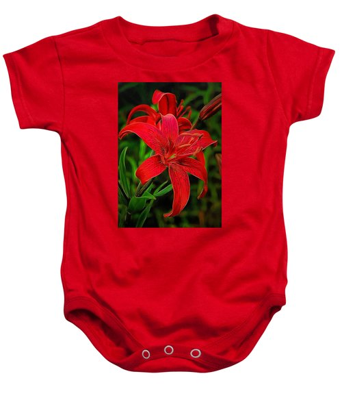Baby Onesie featuring the digital art Red Lily by Charmaine Zoe