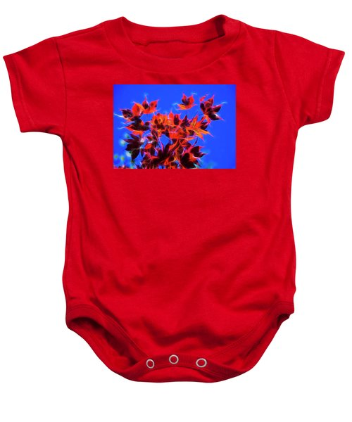 Red Maple Leaves Baby Onesie by Yulia Kazansky