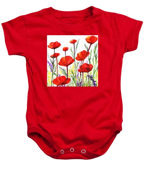 Baby Onesie featuring the painting Red Poppies Art By Irina Sztukowski by Irina Sztukowski
