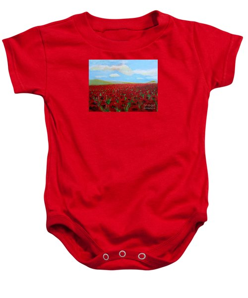 Red Poppies In Remembrance Baby Onesie