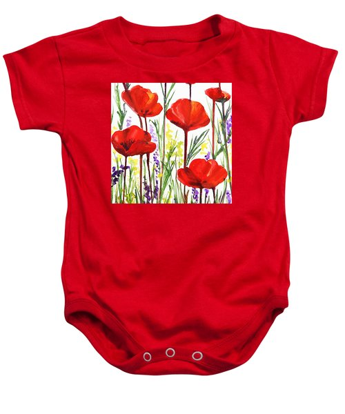 Baby Onesie featuring the painting Red Poppies Watercolor By Irina Sztukowski by Irina Sztukowski