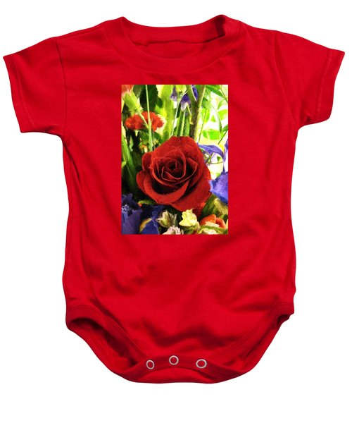 Baby Onesie featuring the digital art Red Rose And Flowers by Charmaine Zoe