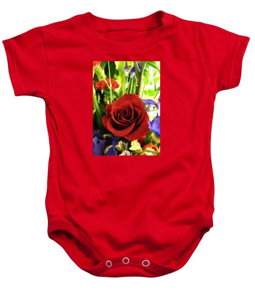 Red Rose And Flowers Baby Onesie
