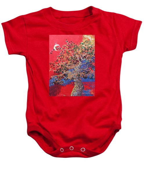 Red Sky And Tree Baby Onesie