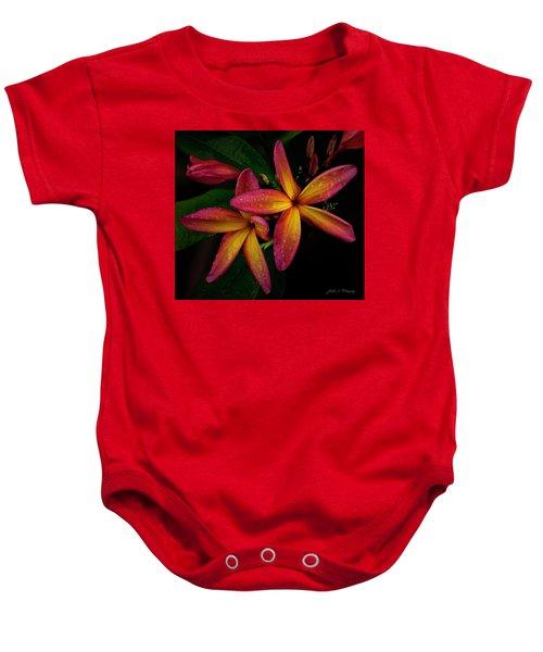 Red/yellow Plumeria In Bloom Baby Onesie