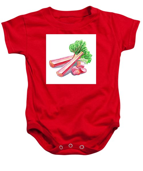 Baby Onesie featuring the painting Rhubarb Stalks by Irina Sztukowski