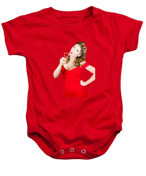Romantic Blond Pin-up Lady Blowing Party Bubbles Baby Onesie by Jorgo Photography - Wall Art Gallery