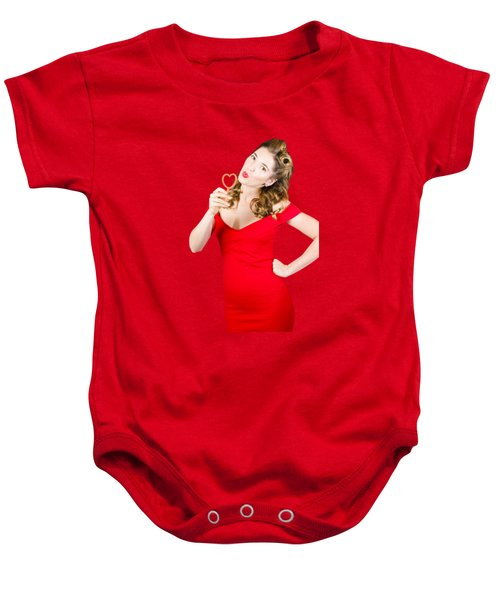Romantic Blond Pin-up Lady Blowing Party Bubbles Baby Onesie