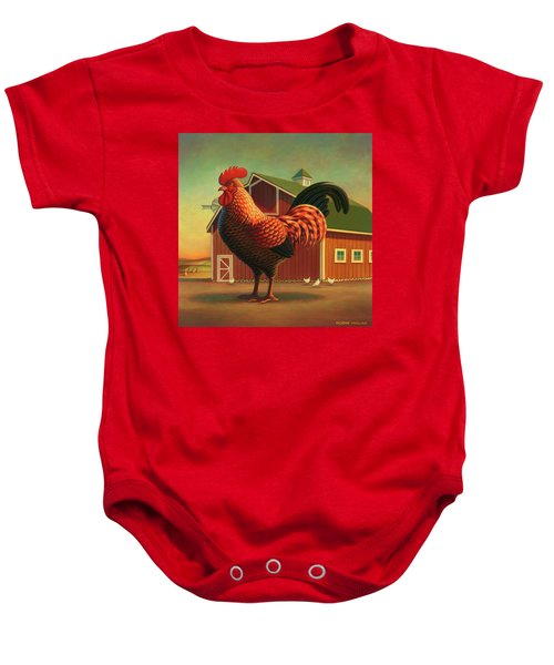 Rooster And The Barn Baby Onesie