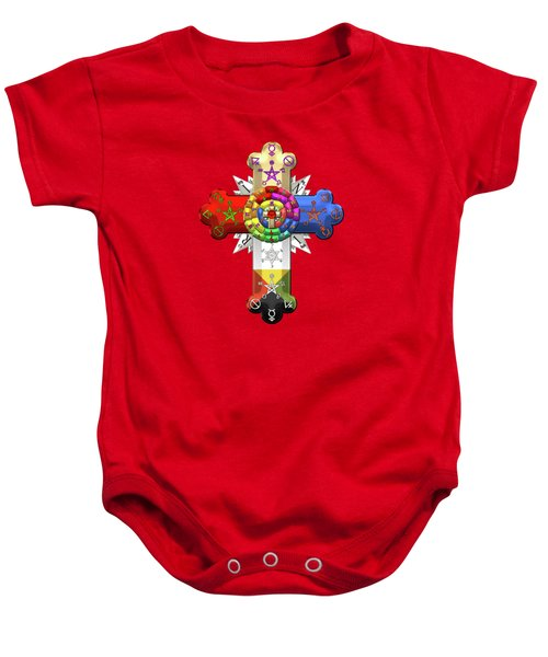 Rosy Cross - Rose Croix On Red And Black Canvas Baby Onesie