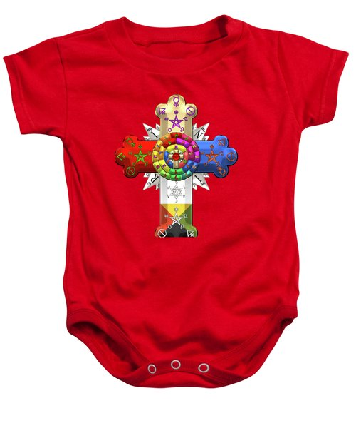 Rosy Cross - Rose Croix On Red Canvas Baby Onesie