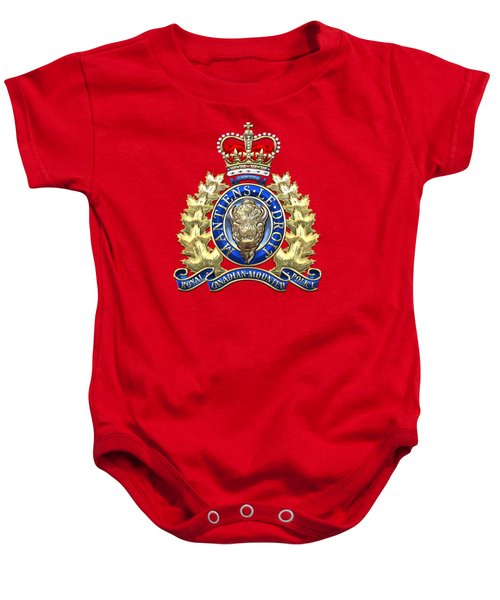 Royal Canadian Mounted Police - Rcmp Badge On Red Leather Baby Onesie by Serge Averbukh