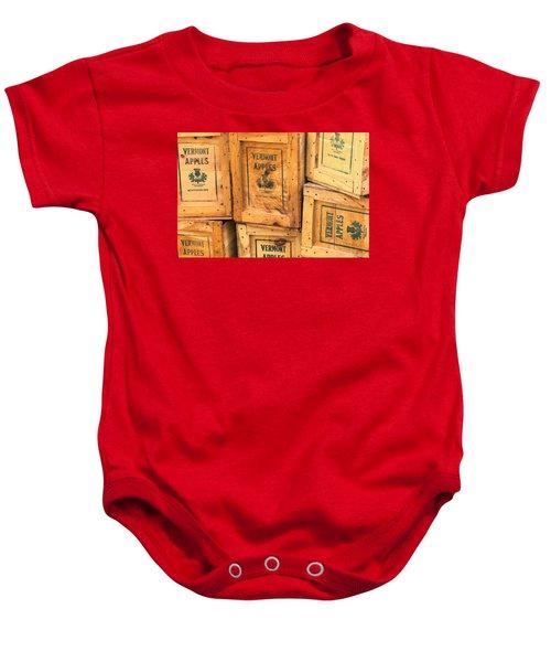 Scott Farm Apple Boxes Baby Onesie
