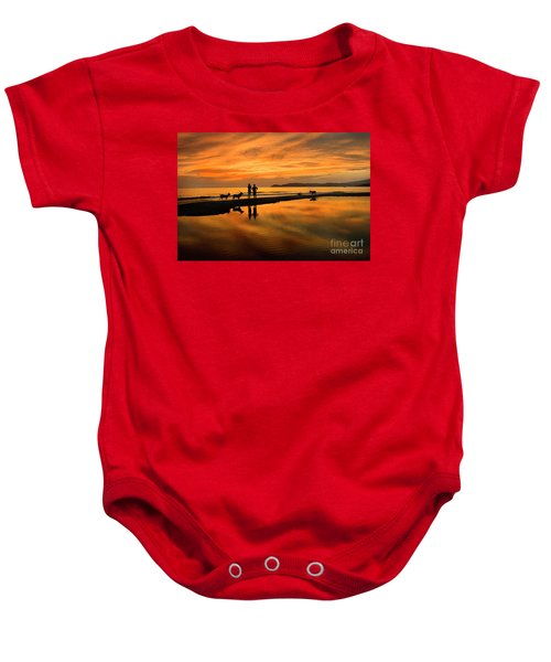 Silhouette And Amazing Sunset In Thassos Baby Onesie