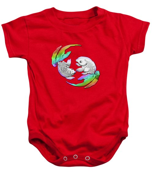 Silver Japanese Koi Goldfish Over Red Canvas Baby Onesie