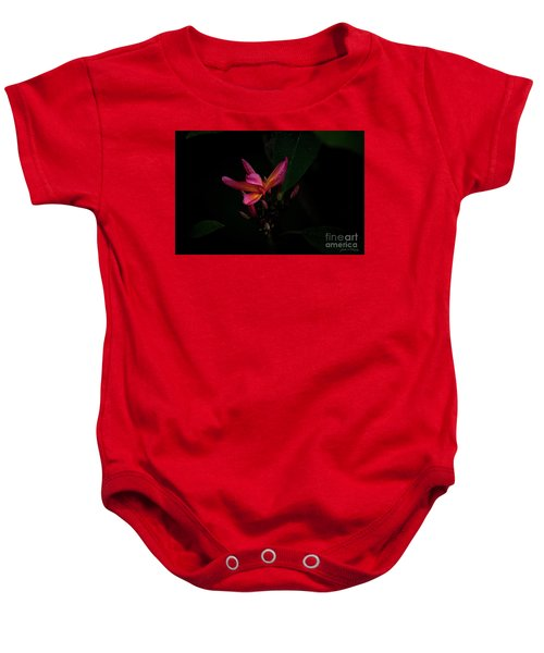 Single Red Plumeria Bloom Baby Onesie