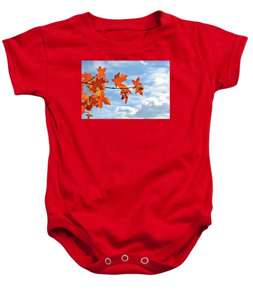 Sky View With Autumn Maple Leaves Baby Onesie