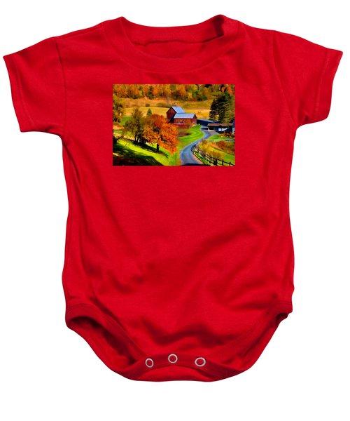 Digital Painting Of Sleepy Hollow Farm Baby Onesie