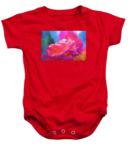 Soft Rose Bloom In Red And Purple Baby Onesie