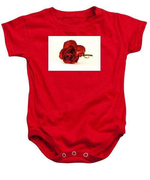Red Rose Bud Baby Onesie
