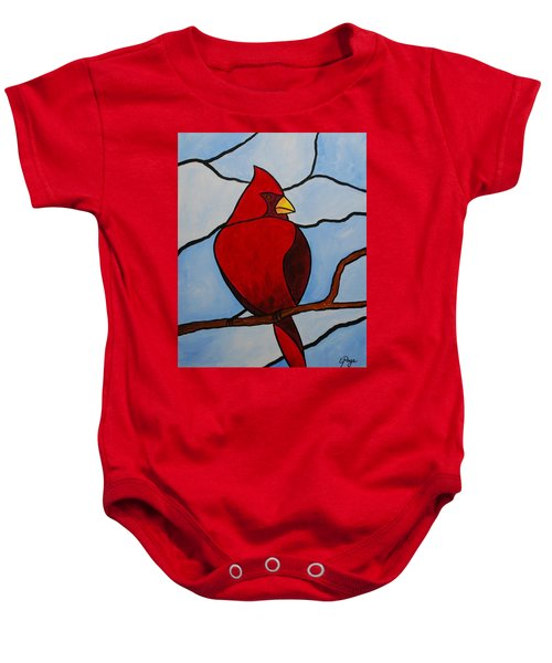 Stained Glass Cardinal Baby Onesie