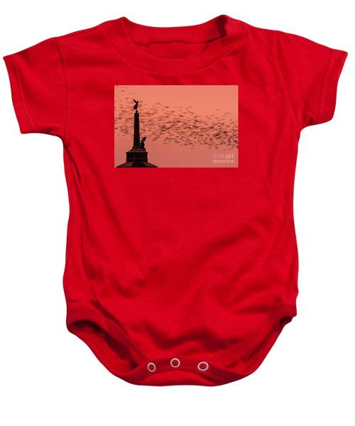 Starlings Sweeping Past Aberystwyth War Memorial Baby Onesie