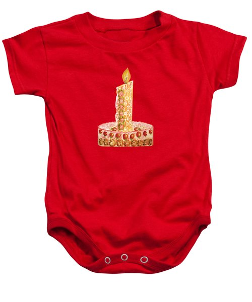 Strawberry Cake For Christmas Baby Onesie by Thecla Correya