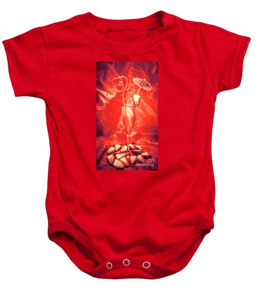 Straweberry Tropical Cocktail Drink Baby Onesie