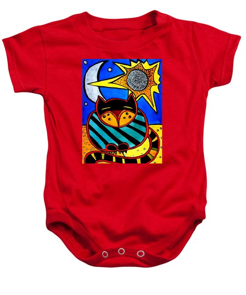 Baby Onesie featuring the painting Sun And Moon - Honourable Cat - Art By Dora Hathazi Mendes by Dora Hathazi Mendes