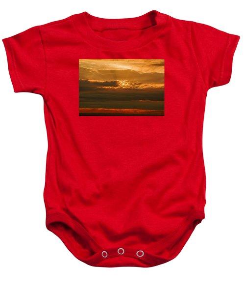Sun Behind Dark Clouds In Vogelsberg Baby Onesie