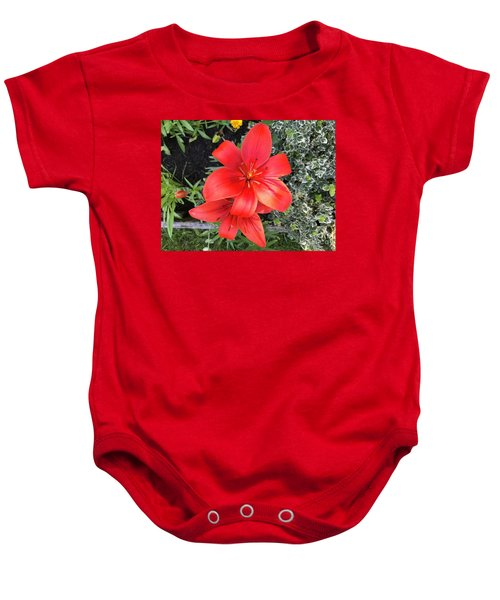 Sunbeam On Red Day Lily Baby Onesie