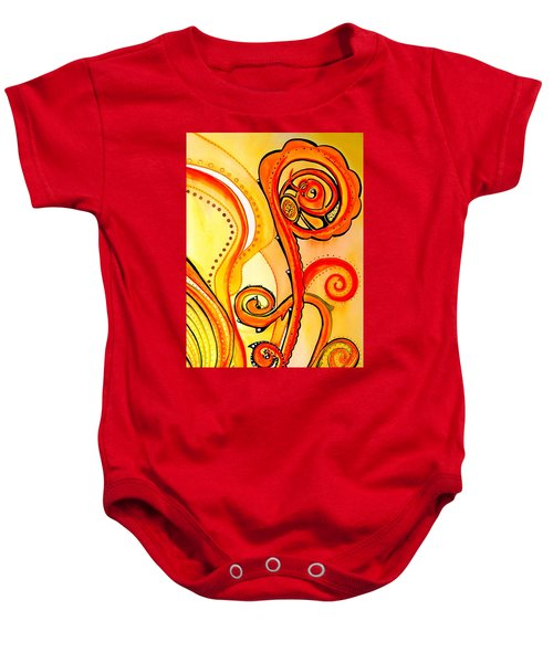 Baby Onesie featuring the painting Sunny Flower - Art By Dora Hathazi Mendes by Dora Hathazi Mendes