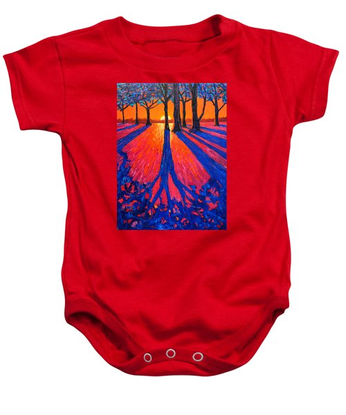 Sunrise In Glory - Long Shadows Of Trees At Dawn Baby Onesie