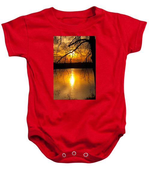 Sunset Over The Lake Baby Onesie