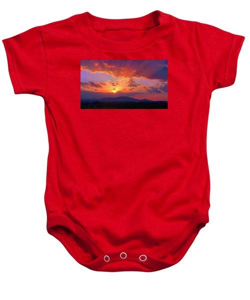Sunset Rays At Smith Mountain Lake Baby Onesie