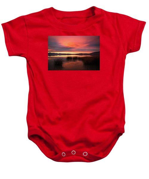 Sunset Reeds On Utah Lake Baby Onesie