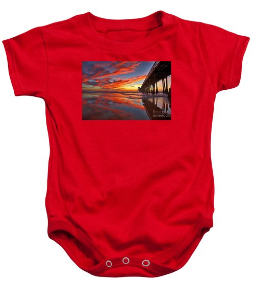 Sunset Reflections At The Imperial Beach Pier Baby Onesie