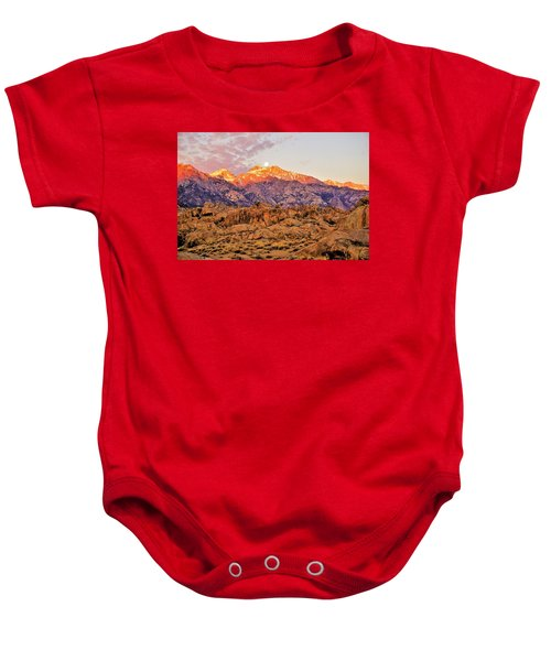 Supermoon Setting At Sunrise Over Mount Williamson In The Sierra Nevada Mountains Baby Onesie