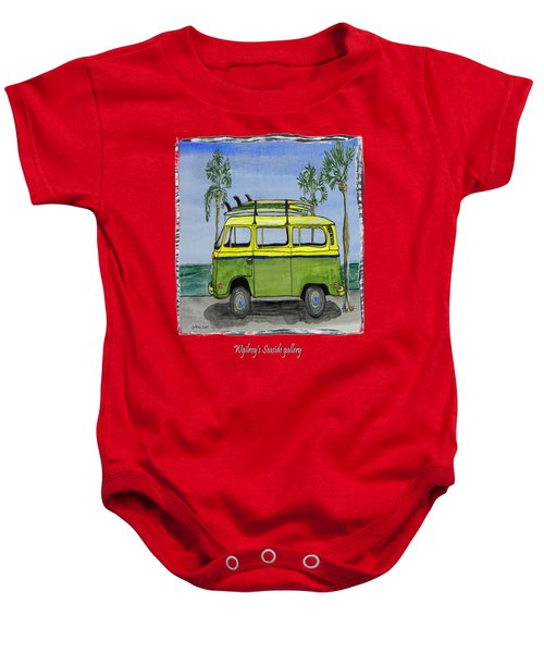 Surf Art Vw Bus And Long Boards  Baby Onesie