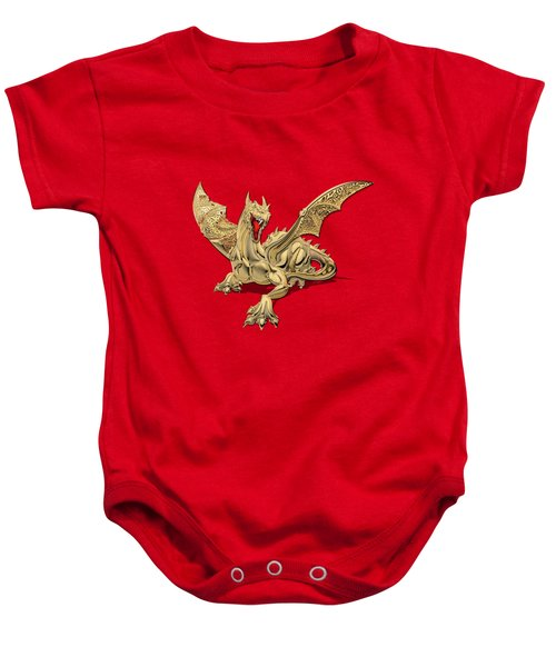 The Great Dragon Spirits - Golden Guardian Dragon On Red And Black Canvas Baby Onesie by Serge Averbukh