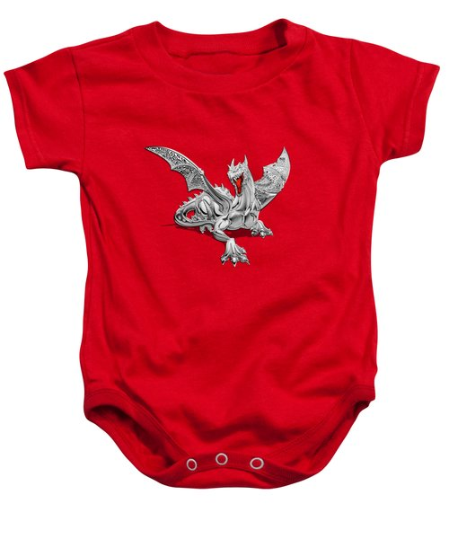 The Great Dragon Spirits - Silver Guardian Dragon On Black And Red Canvas Baby Onesie by Serge Averbukh