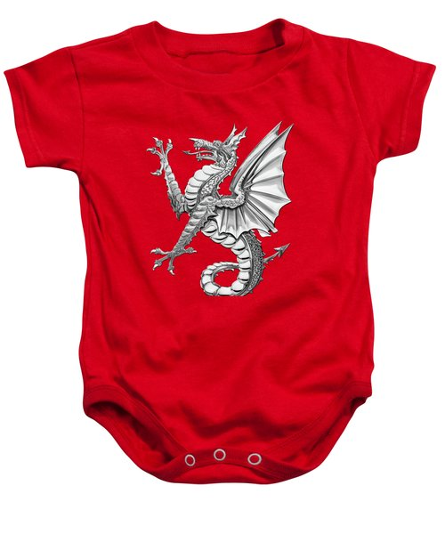 The Great Dragon Spirits - Silver Sea Dragon Over Red Canvas Baby Onesie