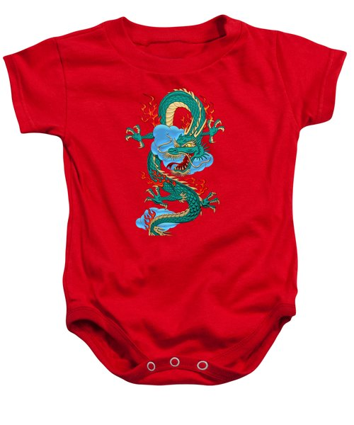 The Great Dragon Spirits - Turquoise Dragon On Red Silk Baby Onesie by Serge Averbukh