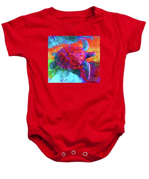 The Great Sea Turtle In Abstract Baby Onesie
